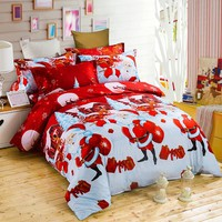 Christmas Bedding Set 3D Cartoon Printed Bed linens Single Double Bed Twin Queen King Size Pillowcase + Duvet Cover Bedding Sets