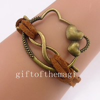 hello kitty and infinity karma charm Bracelet Antique bronze--cotton ropes bracelet-- choose your favourite color. gift 791