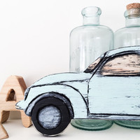 Wooden Car Sign Vintage Mint Wall Art Rustic Chic Wall Decor Antique VW Beetle Custom Color Size