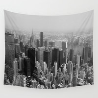 New York City Black and White Wall Tapestry by Forand Photography