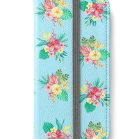 iPhone 6 Wallet Tropical Hawaiian Flowers Blue iPhone 6S Plus Wallet Case Watercolor Yellow Green Red Pink Woman's Lady Wallet Gift For Her