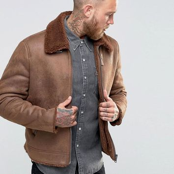 ASOS | ASOS Faux Shearling Jacket In Brown at ASOS