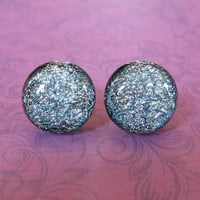 Glass Post Earrings, Silver Earrings, Button Earrings, Hypoallergenic Jewelry - Jenson - 1818 -3