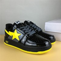 Foot Soldier BAPE STA Black/Yellow Star Sneaker Shoe 36-45