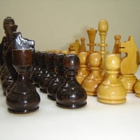 Vintage soviet chess set of wooden figures, made in USSR, polished wooden chess figures