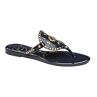 Georgica Jelly Sandal in Midnight Navy & Gold by Jack Rogers