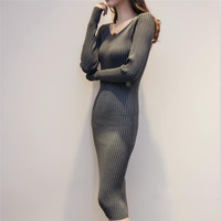 New Brand Autumn and Winter Long V-Neck Slim Sweater Dress For Women