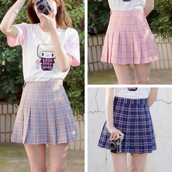 6 Colors Grid Preppy Style Pleated Skirt SP179294