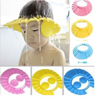 3 Colors New Adjustable Baby Kids Shampoo Bath Bathing Shower Cap Hat With Ear Wash Hair Shield