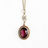 Antique 12k Rose Gold Filled Simulated Amethyst Lavalier Necklace - Vintage Early 1900s Edwardian Art Nouveau Seed Pearl Pendant Jewelry