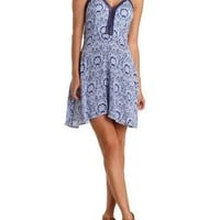 Navy Combo Tie-Back Crochet Trim Printed Dress by Charlotte Russe