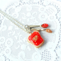 Peanut Butter Heart & Strawberry Jelly Necklace, With Knife And Spoon, Cute :D