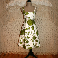 Satin Party Dress White + Green Floral Dress Sleeveless Summer Dress Midi Garden Party Retro 50s Style Size 6 Dress Small Womens Clothing
