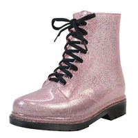 Rain Boots Bling Glitter Platform Women Boots Lace-Up Winter Ankle Boots Casual Shoes Woman Women Flats Shoes Size 36-40 XWX4356