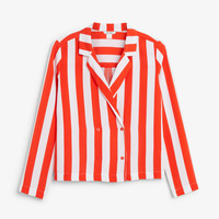 Double-breasted blouse - Striped to perfection - Tops - Monki GB