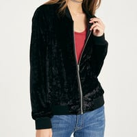 Crushed Velvet Bomber Jacket | Wet Seal