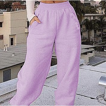 Explosion style hot sale women's sports all-match plus fleece trousers