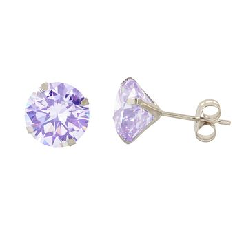 14k White Gold Round Lavender Cubic Zirconia Stud Earrings Prong Set