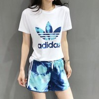 """Adidas"" Women Casual Fashion Flower Letter Logo Print Short Sleeve Shorts Set Two-Piece Sportswear"