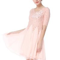 TopStyliShop Women's Long Sleeve Lace Top Dress with Pleated