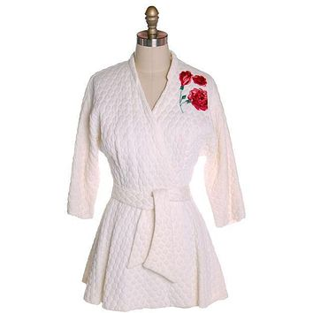 Vintage White Quilted Bed Jacket Roses Applique Evelyn Pearson 1950s 38-26-Free