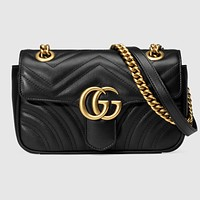 Gucci Bag Marmont Bag Wave Bag Metal Double GG Buckle Black