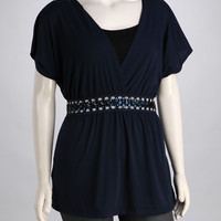 Navy Sparkle Plus-Size Top