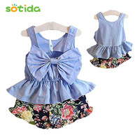 Grils 2016 Fashion Summer bow vest rosette+flower pant baby clothing 2 pcs suit girls clothing casual dress girl