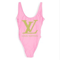 LV Louis Vuitton 2018 Women's Sexy Fashion High Quality Siamese Bikini Swimsuit F-ZDY-AK pink