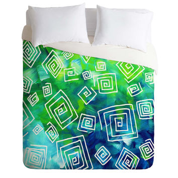 Madart Inc. Sea of Whimsy Square Curly Cue Duvet Cover