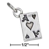Sterling Silver Three Dimensional Playing Card Ace Of Hearts Charm