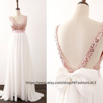 Sequin Chiffon Prom Dress, Rose Gold Sequin Ivory Chiffon Long Prom Gown with Bow Back,  Formal Dresses, Wedding Bridesmaid Dress