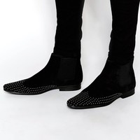 ASOS Chelsea Boots in Black Suede With Gold Studs