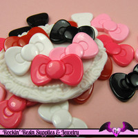 5 Pieces Small BOWS  Decoden Resin Cabochons 23x13mm