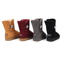 """UGG"" Women male button Fashion Wool Snow Boots"
