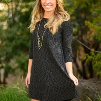 By the Fireside Sweater Dress - Charcoal