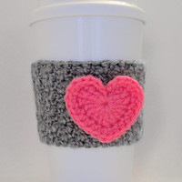 Crochet Heart Coffee Cup Cozy Hot Pink and Heather Gray