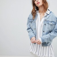 Current Air Denim Jacket with Lace Back Detail at asos.com