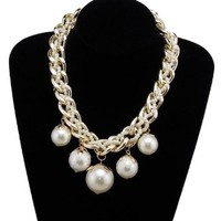 Buy Home Faux Pearl Beaded Chunky Bib Necklace Statement Necklace