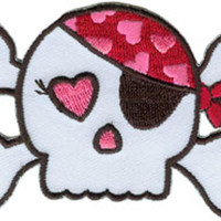 Pirate Iron-On Patch Girly Skull And Crossbones