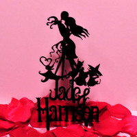Customized Nightmare Before Christmas Sexy Kissing Cake Topper