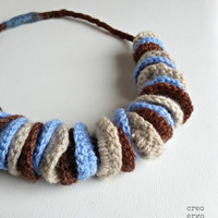 Crochet necklace 100% vegan, brown chocolate, cream, blue necklace, winter collection, made in Italy fiber jewelry, gift for her
