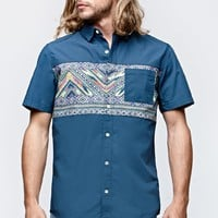 On The Byas Chest Panel Woven Shirt - Mens Shirt - Blue