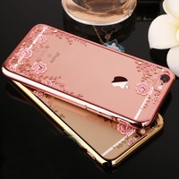 Crystal Glitter Flower Phone Case For iPhone 7 6 6s / 6s 6 7 Plus / 5 5s SE