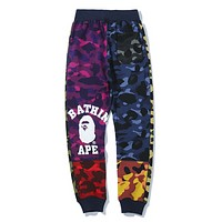 Bape Aape Fashion New Camouflage Sports Leisure Women Men Contrast Color Pants