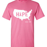 Pink Breast Cancer United States  Hope Short Sleeve Tshirt