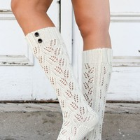 Chestnut Cream Knit Boot Sock with Buttons