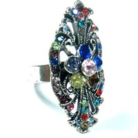 Cocktail Ring Cubic Zirconia Fashion Oxidized Silver Tone Adjustable Ring (Multi)