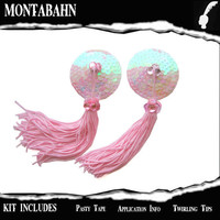 Pasties Nipple Tassels Burlesque Pink Iridescent by Montabahn