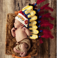 newborn Photography Prop Baby Infant handmade crochet Indian chief knit Costume hat = 1958060164